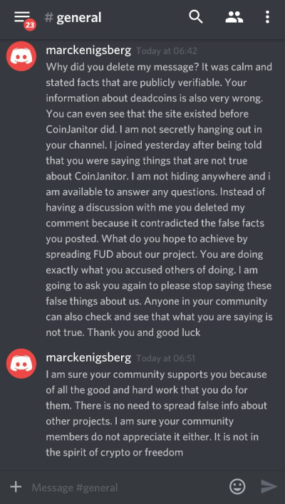 coinjanitor responds to deadcoins lies